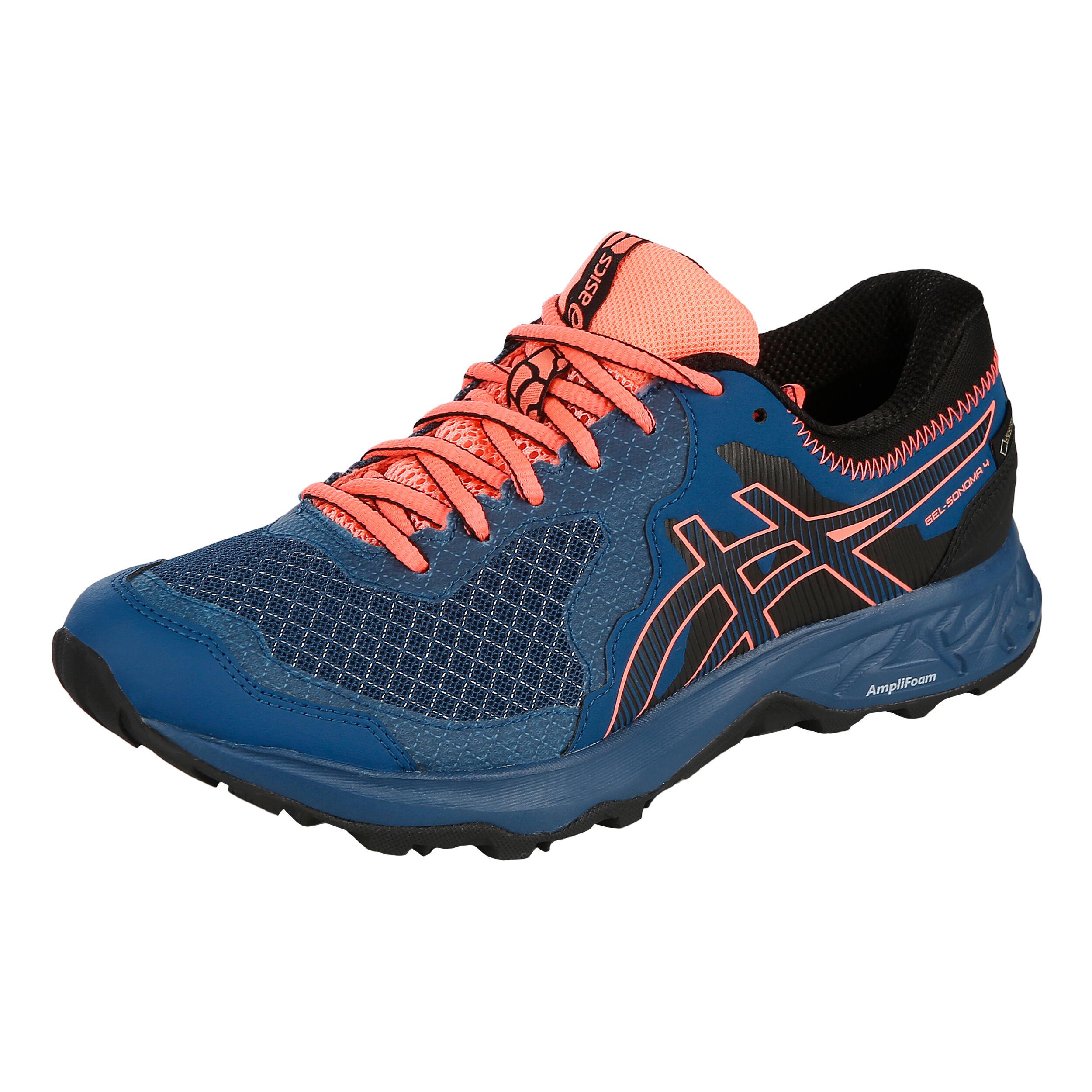 Asics Gel Sonoma 4 GTX Trail Running Shoe Women Petrol, Coral
